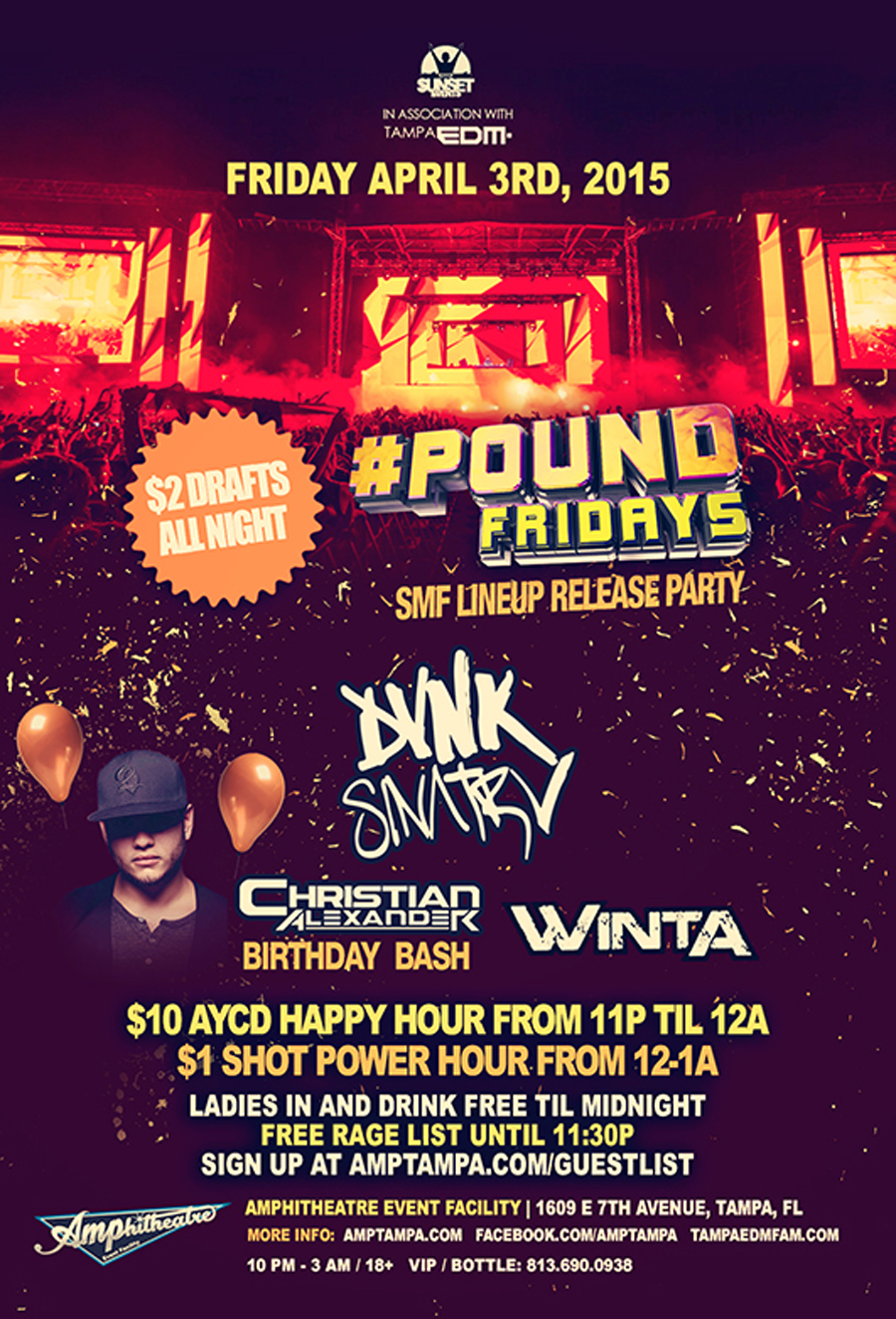 Sunset Music Festival Lineup Release Party at #POUND Fridays