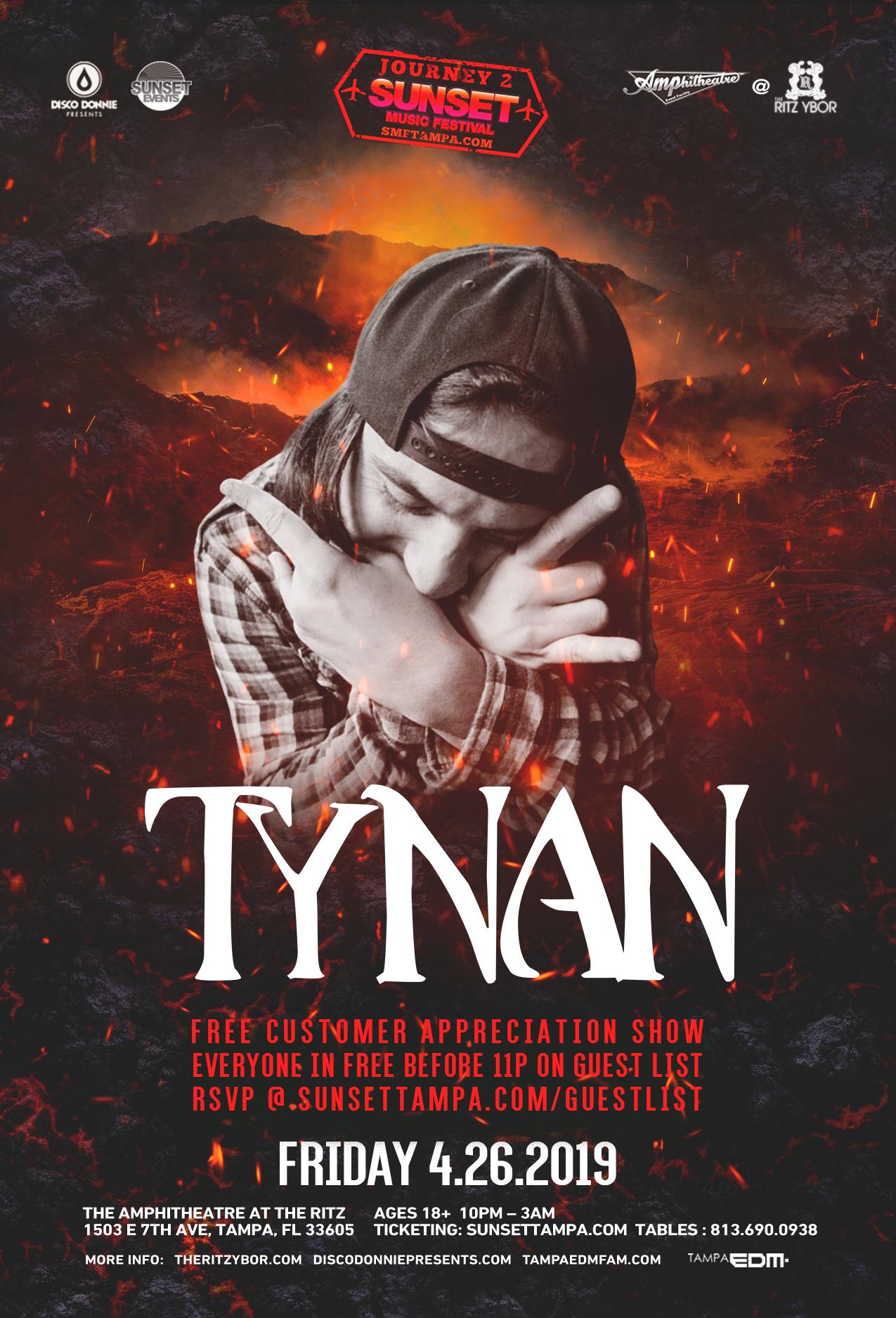Tynan – Journey 2 Sunset Music Festival – #POUND Fridays at The RITZ Ybor – 4/26/2019