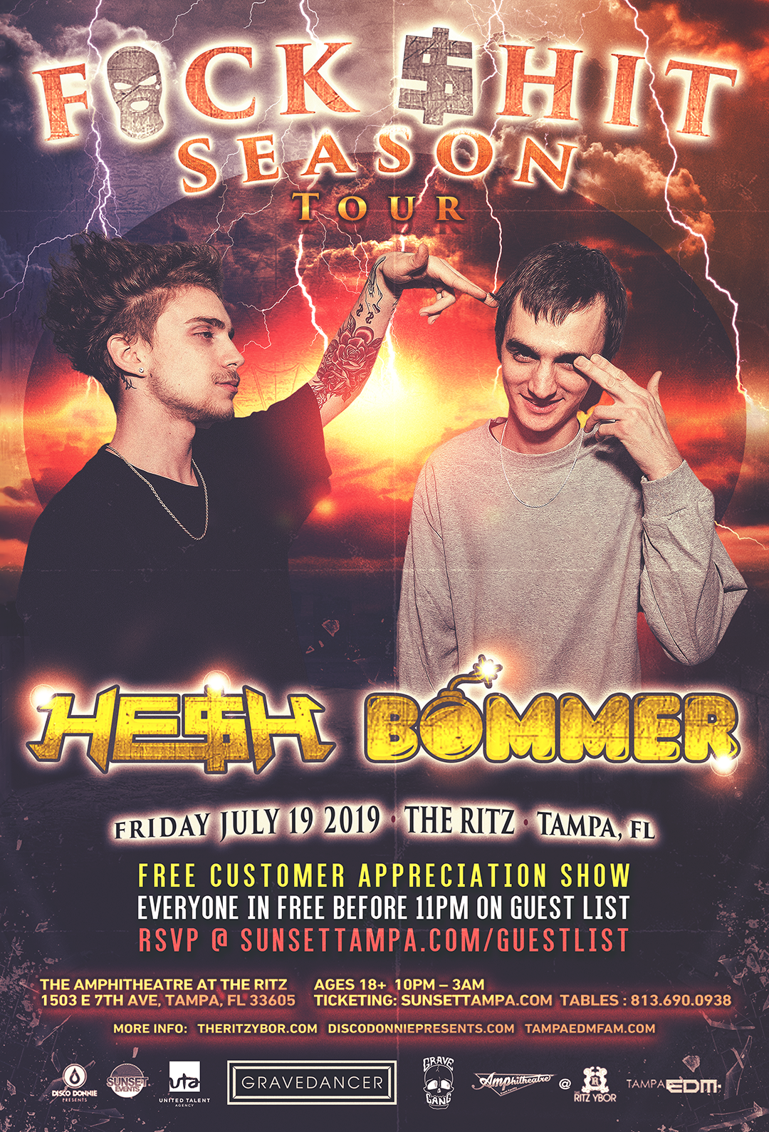 HE$H + BOMMER – F*CK $HIT TOUR – #POUND Fridays at The RITZ Ybor – 7/19/2019