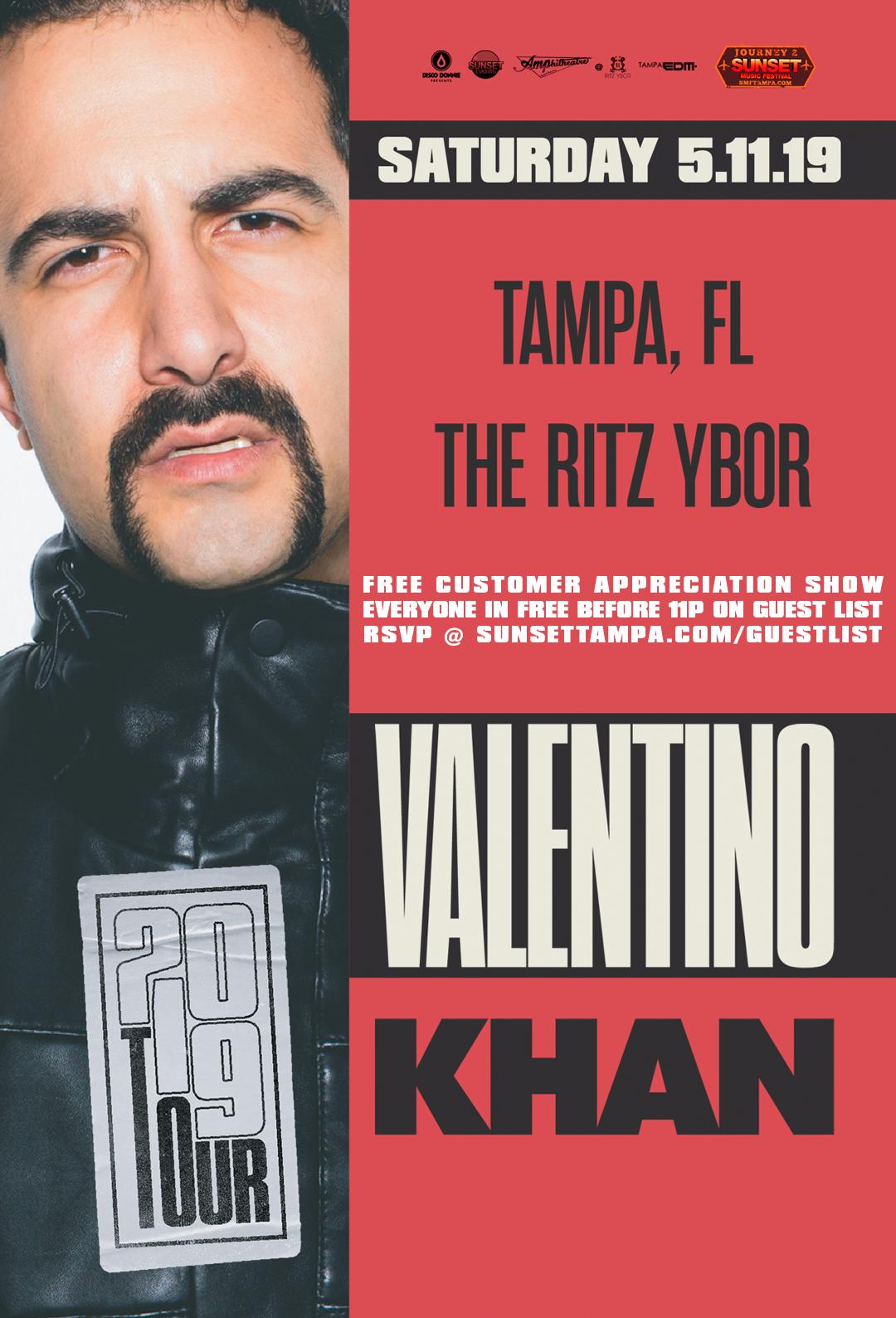 Valentino Khan – 2019 Tour – Journey 2 Sunset Music Festival – Sunset Saturdays at The RITZ Ybor – 5/11/2019