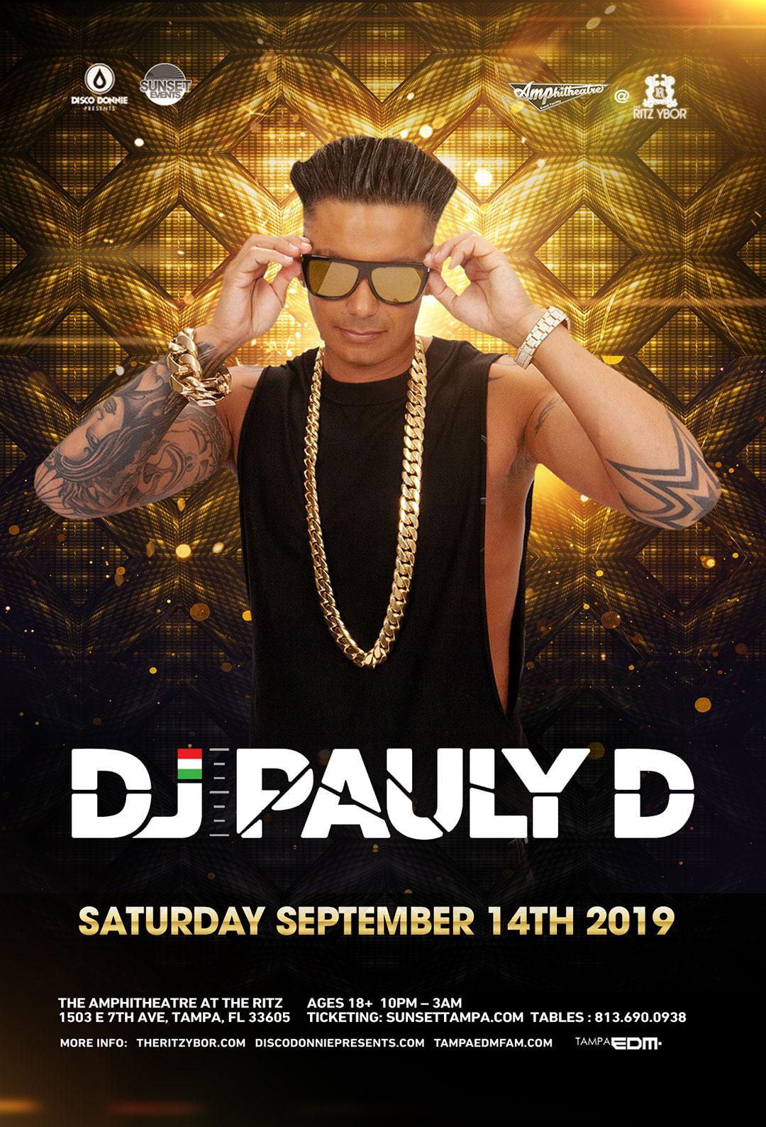DJ Pauly D – Sunset Saturdays at The RITZ Ybor – 9/14/2019