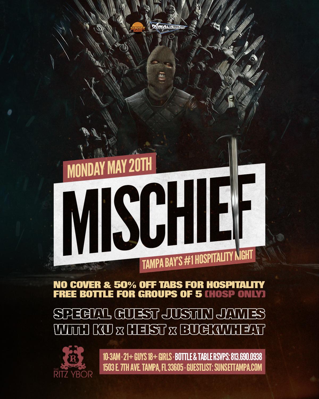 Mischief Mondays – Tampa's #1 Hospitality Night – 5/20/2019
