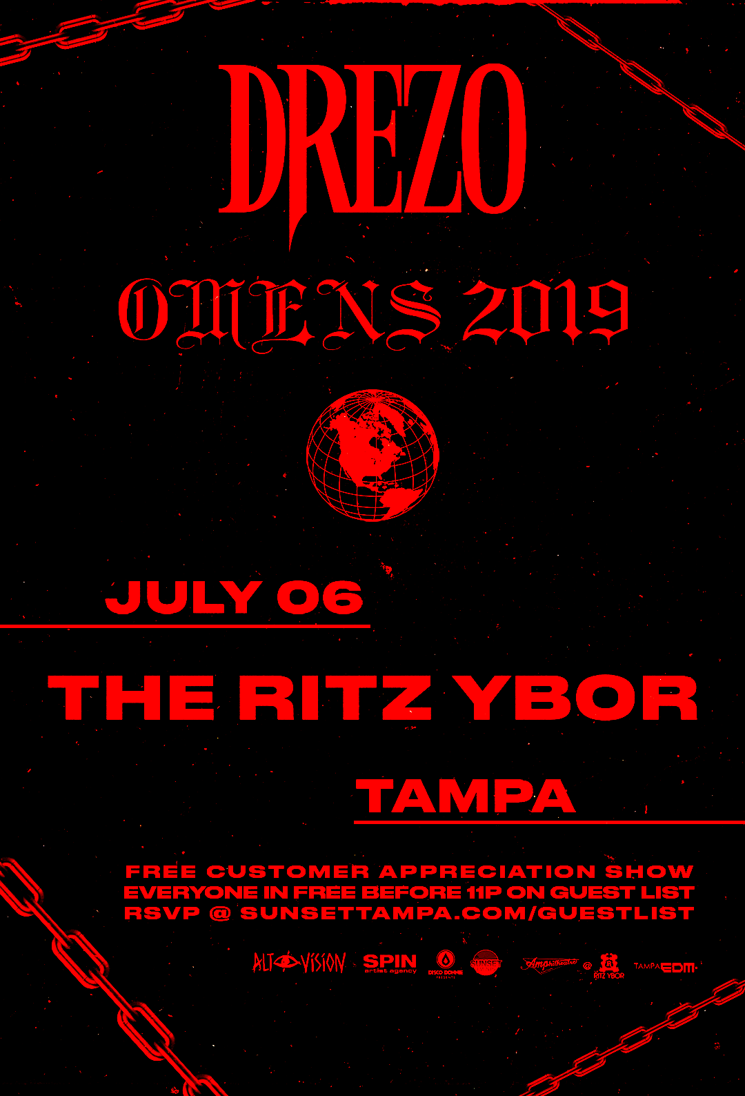 DREZO – Free Guest List – Sunset Saturdays at The RITZ Ybor – 7/6/2019