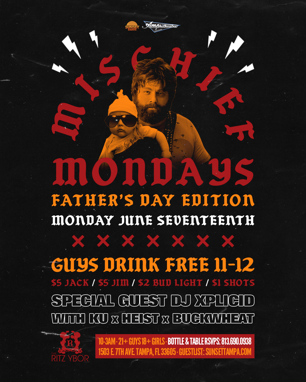 Mischief Mondays – Father's Day Edition w/ DJ XPLICID at The RITZ Ybor – 6/17/2019