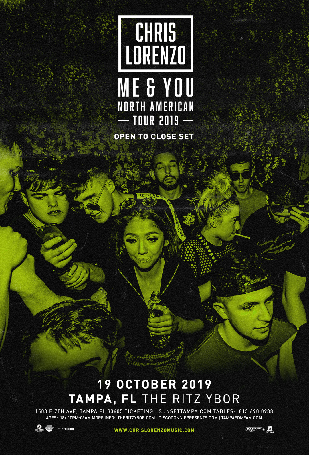 Chris Lorenzo – ME & YOU Tour – Sunset Saturdays at The RITZ Ybor – 10/19/2019