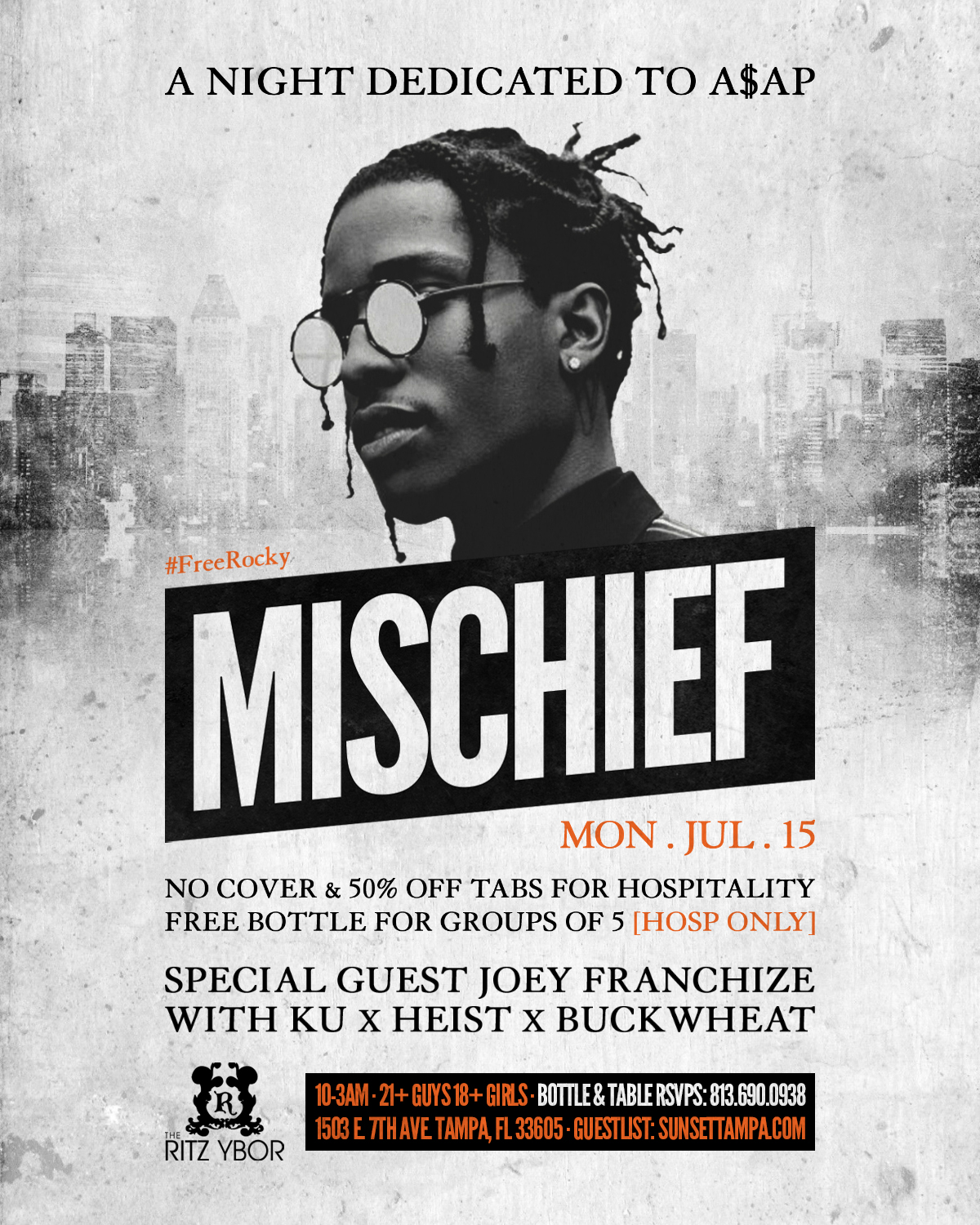 A Night Dedicated to A$AP – Mischief Mondays at The RITZ Ybor – 7/15/2019