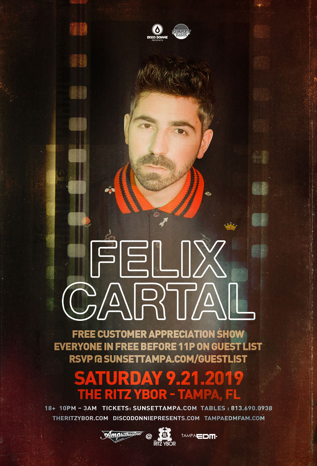 Felix Cartal – Sunset Saturdays at The RITZ Ybor – 9/21/2019