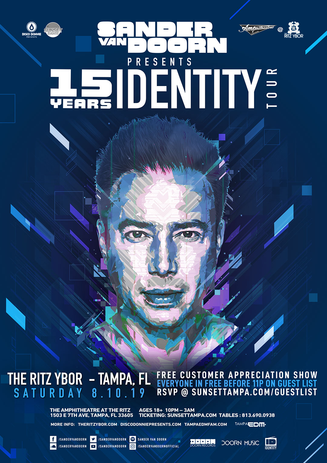 Sander Van Doorn – 15 Years Identity Tour – Sunset Saturdays at The RITZ Ybor – 8/10/2019