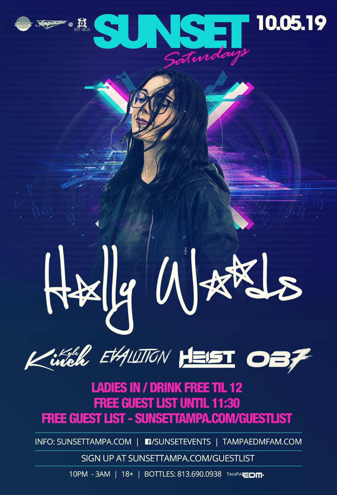 Holly Woods – Free Guest List – Sunset Saturdays at The RITZ Ybor – 10/5/2019