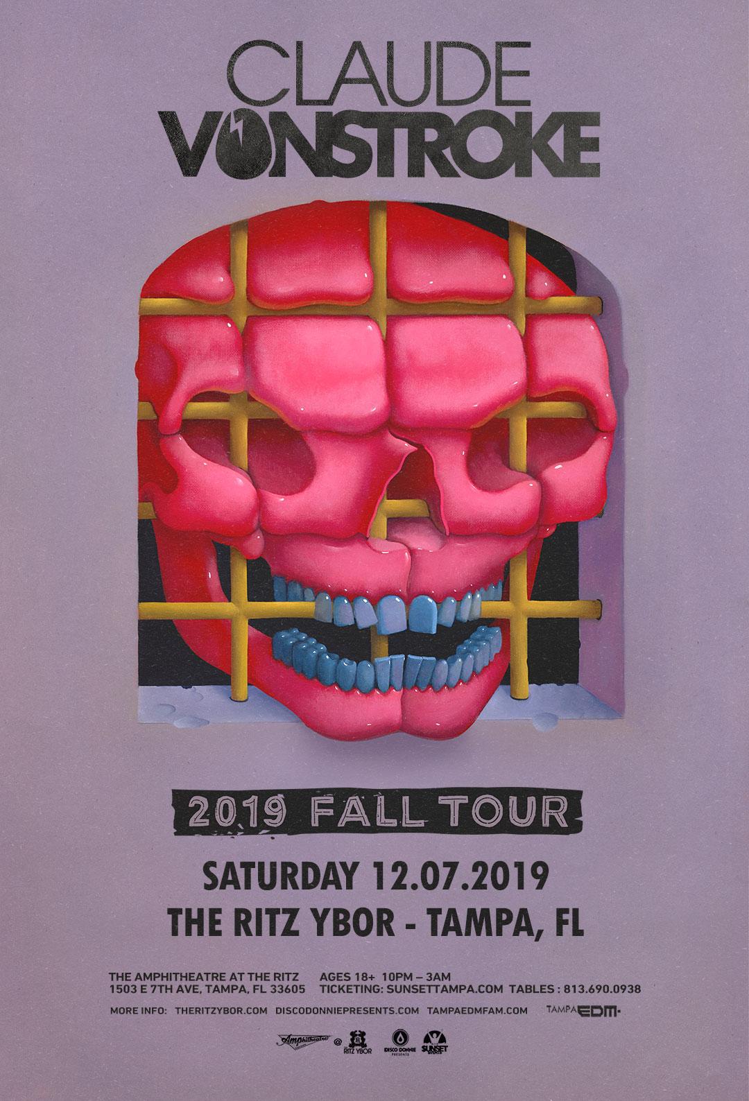 CLAUDE VONSTROKE – 2019 Fall Tour – Sunset Saturdays at The RITZ Ybor – 12/7/2019
