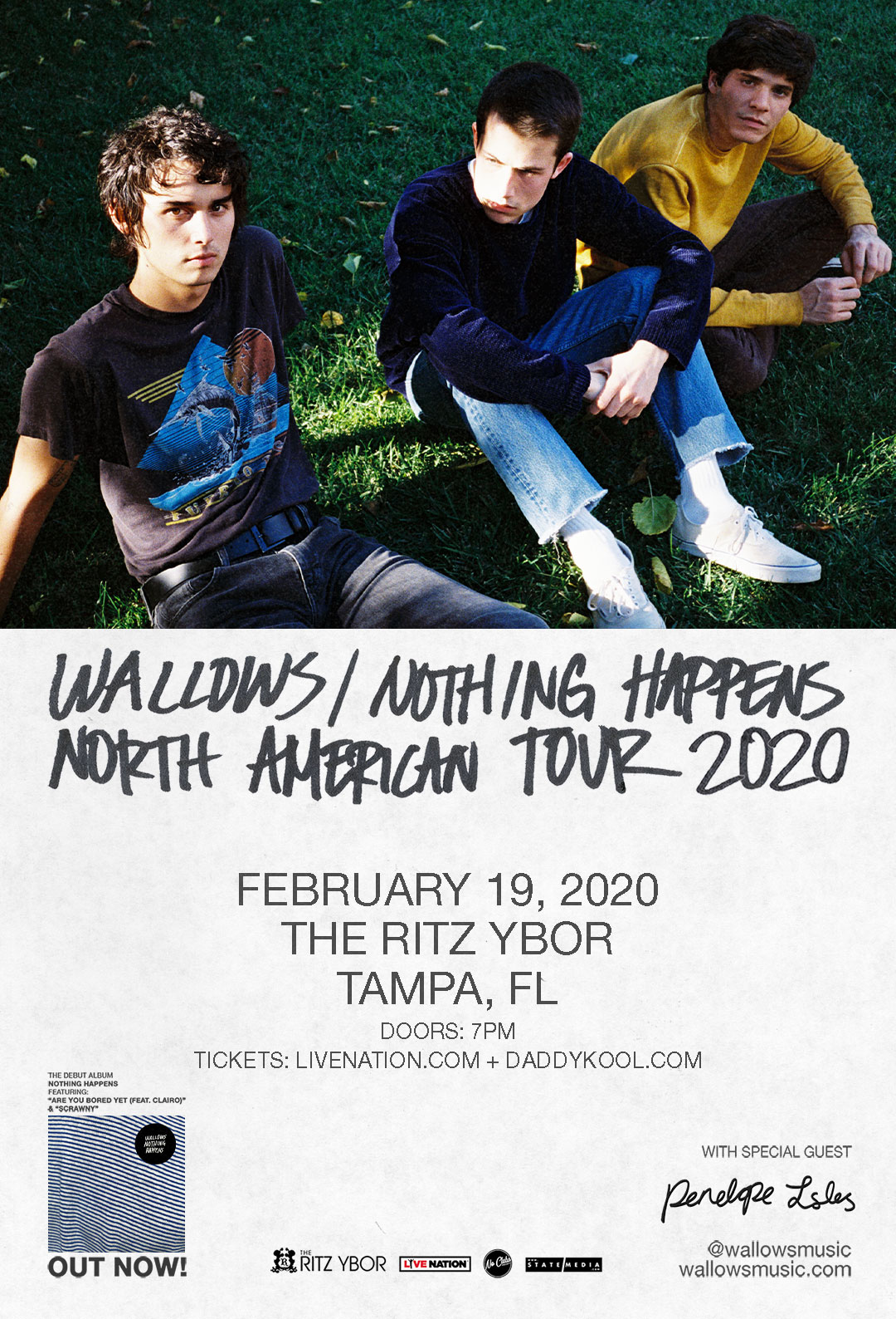 WALLOWS – Nothing Happens Tour 2020 at The RITZ Ybor – 2/19/2020