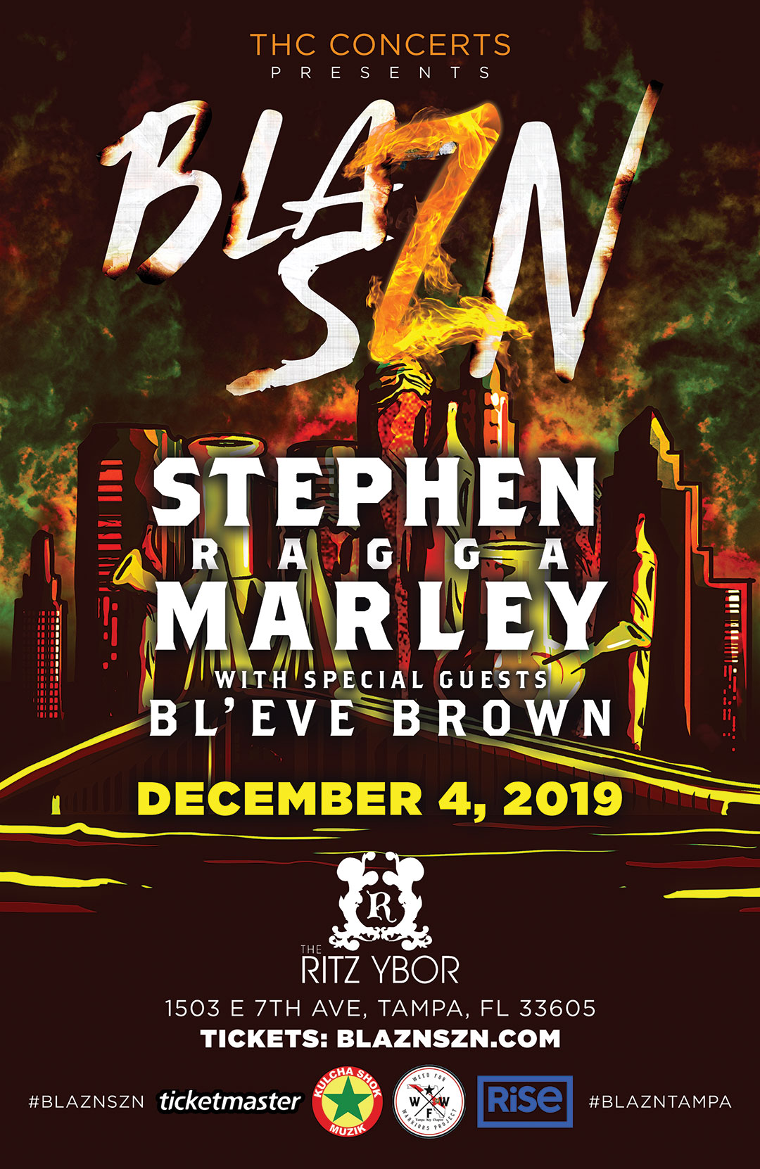 BLAZN SZN ft. Stephen Marley w/ Bl'eve Brown at The RITZ Ybor – 12/4/2019