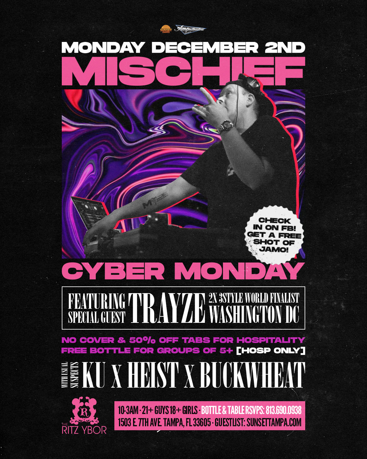 Mischief Mondays – Cyber Monday with Special Guest – Trayze at The RITZ Ybor – 12/2/2019