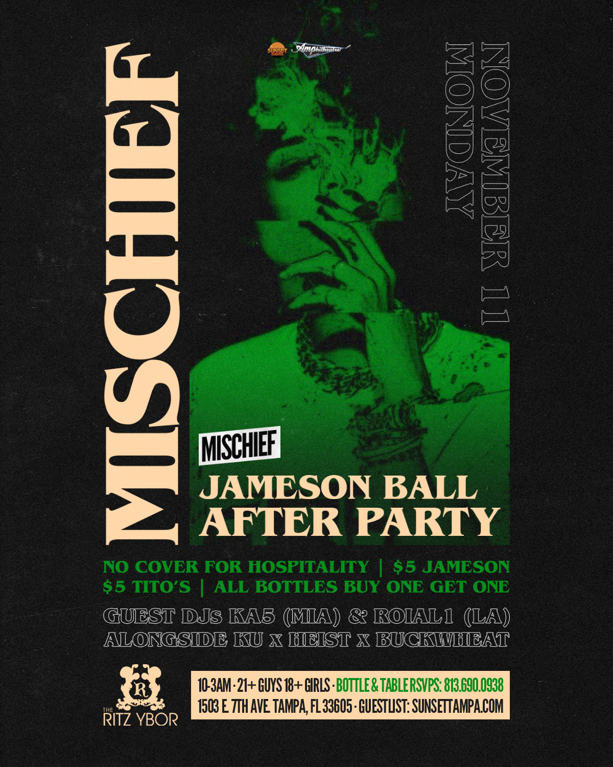 Mischief Mondays – Special Guests KA5 & ROIAL1 at The RITZ Ybor – 11/11/2019