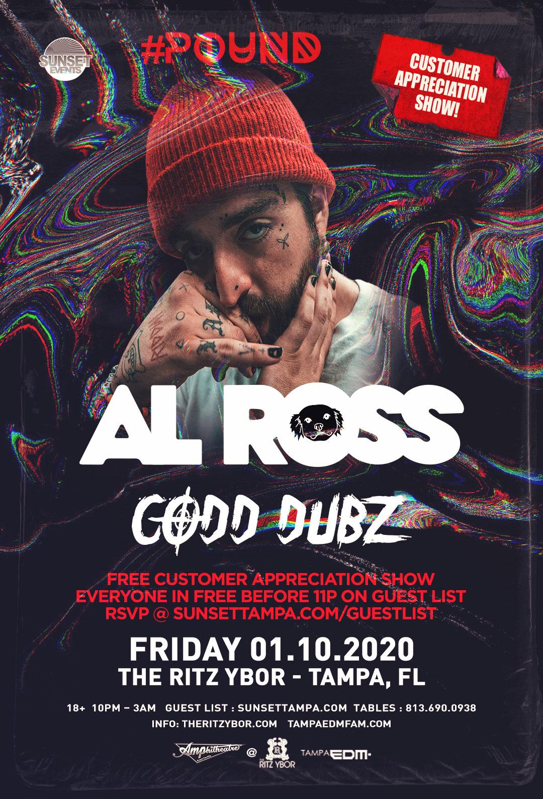 Al Ross + Codd Dubz – Free Guest List – #POUND FRIDAYS at The RITZ Ybor – 1/10/2020