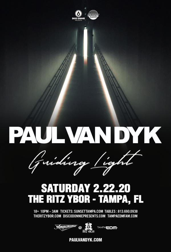 Paul Van Dyk – Guiding Light Tour – Sunset Saturdays at The RITZ Ybor – 2/22/2020