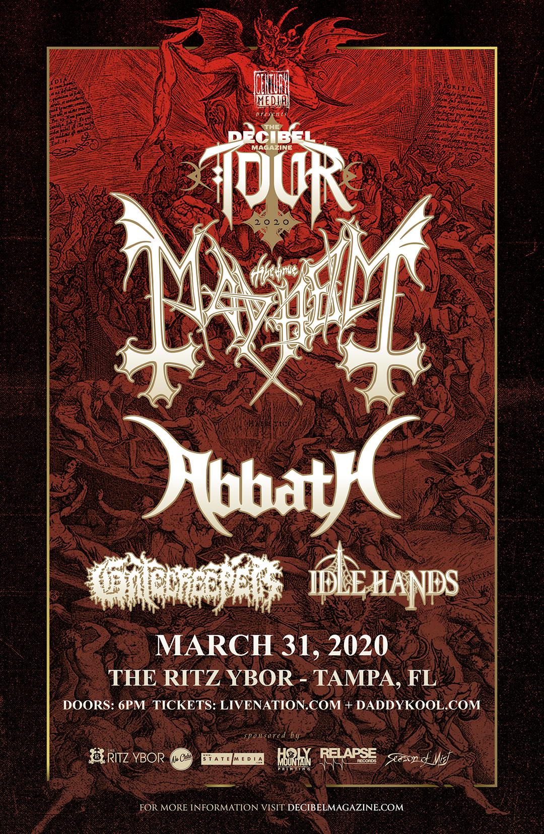 The Decibel Magazine Tour ft. Mayhem & Abbath at The RITZ Ybor – 3/31/2020