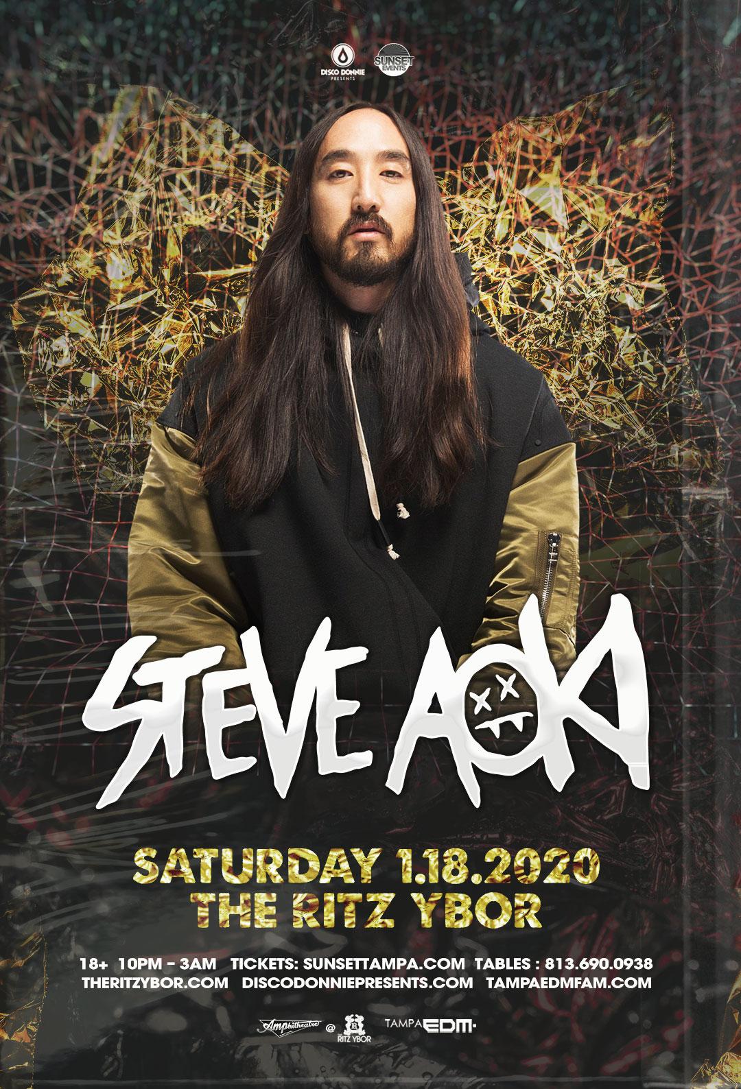 Steve Aoki – Sunset Saturdays at The RITZ Ybor – 1/18/2020