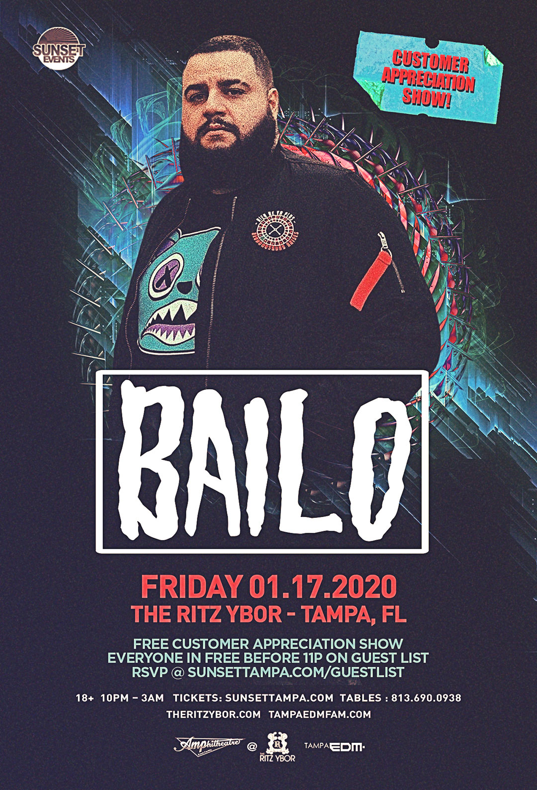 Bailo – Free Guest List – #POUND Fridays at The RITZ Ybor – 1/17/2020
