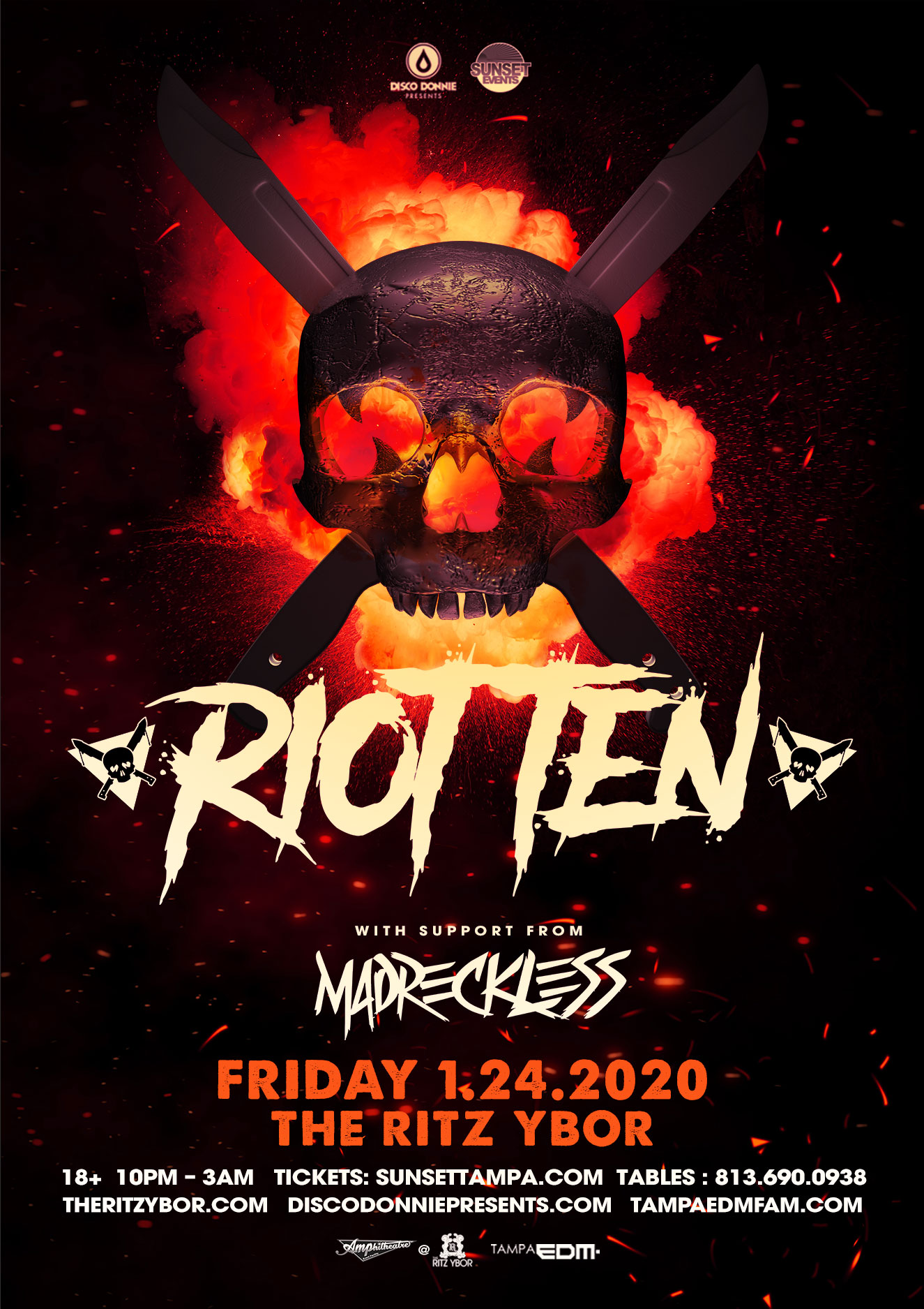 RIOT TEN with MADRECKLESS – #POUND Fridays at The RITZ Ybor – 1/24/2020