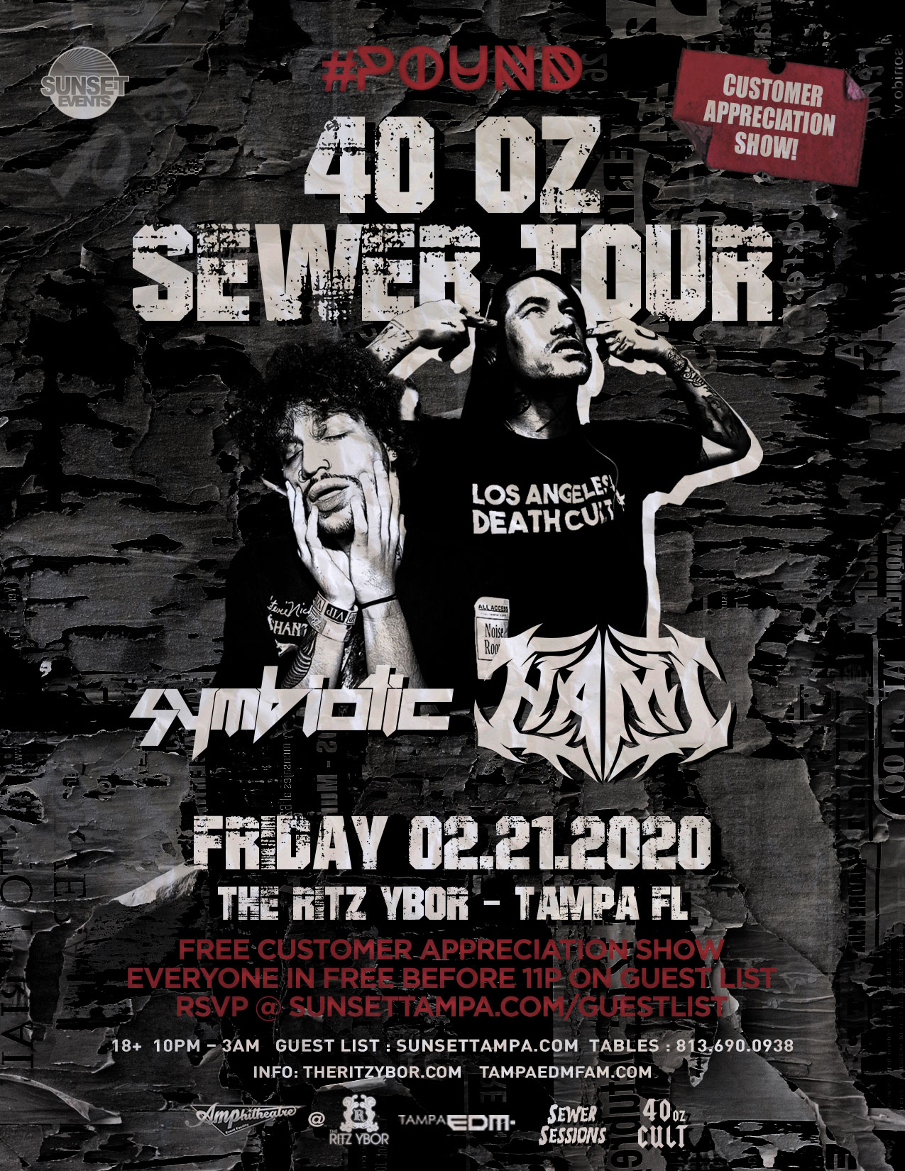 40 oz Sewer Tour – Symbiotic x Hami – Free Guest List – #POUND Fridays at The RITZ Ybor – 2/21/2020
