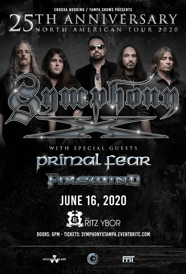 Symphony X 25th Anniversary Tour at The RITZ Ybor – 6/16/2020