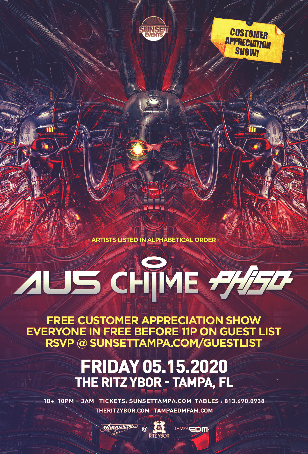 Au5 x Chime x Phiso – Free Guest List – #POUND Fridays at The RITZ Ybor – 5/15/2020
