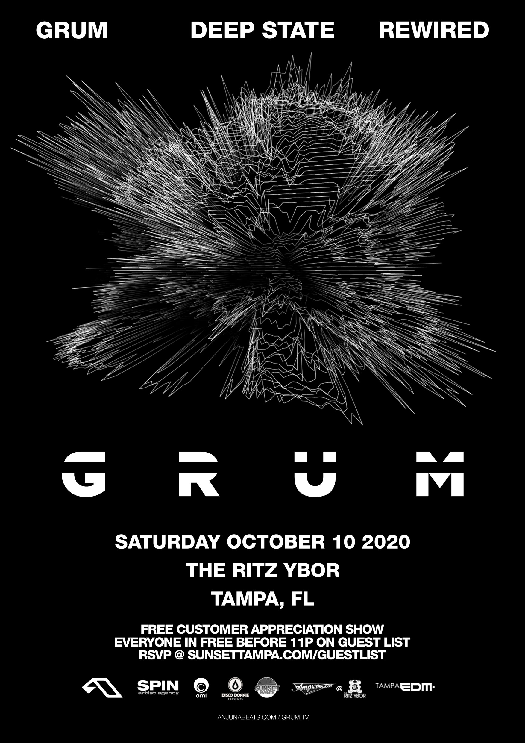 Grum – Deep State Rewired – Free Guest List – Sunset Saturdays at The RITZ Ybor – 10/10/2020