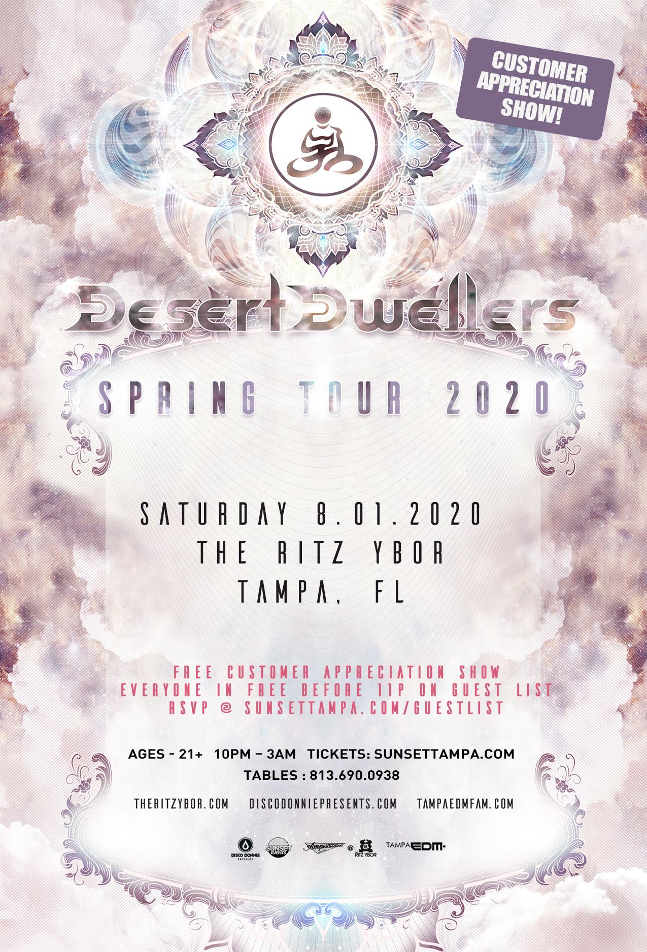 Desert Dwellers – Spring Tour 2020 at The RITZ Ybor – 8/1/2020