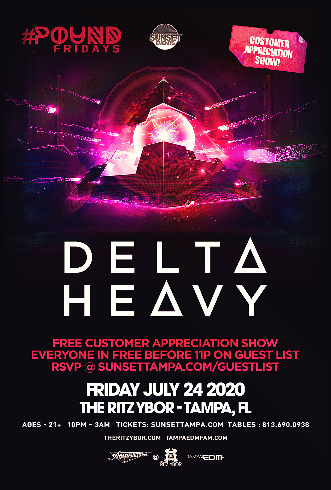 Delta Heavy – Free Guest List – #POUND Fridays at The RITZ Ybor – 7/24/2020
