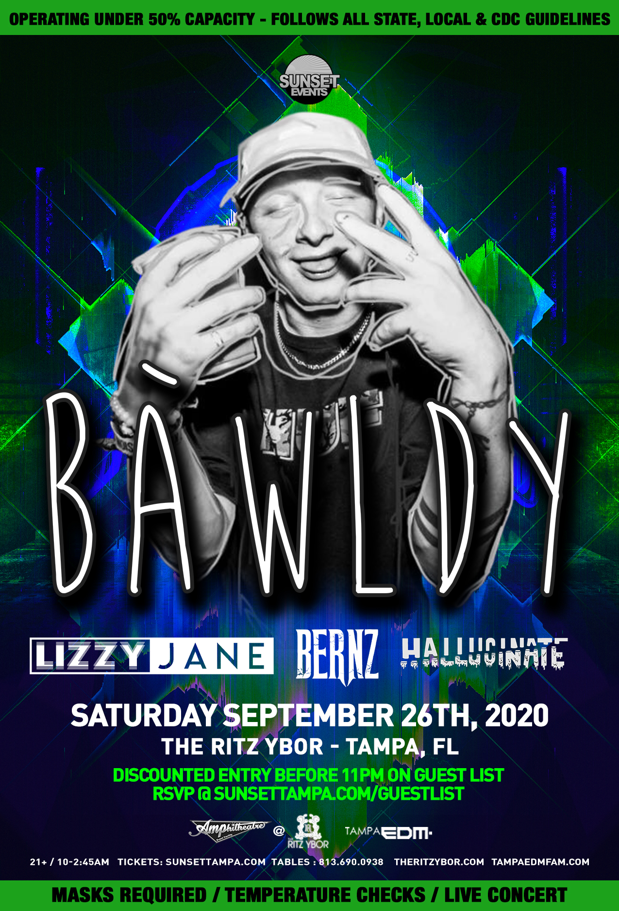 BAWLDY for Sunset Saturdays at The RITZ Ybor – 9/26/2020
