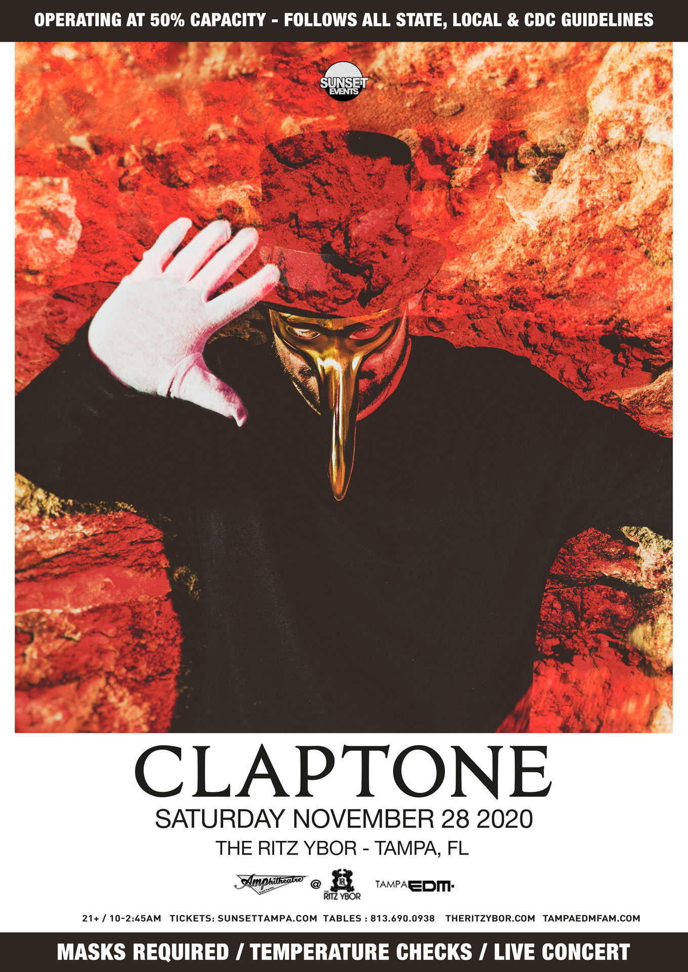 Claptone for Sunset Saturdays at The RITZ Ybor – 11/28/2020