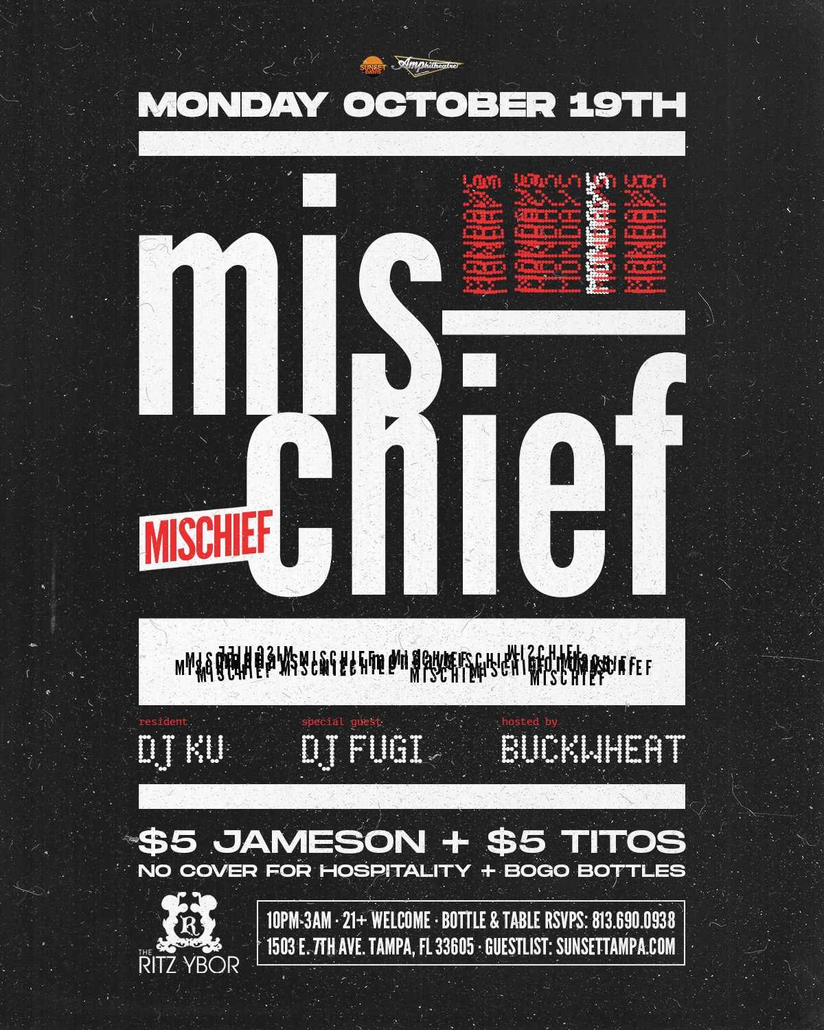 Mischief Mondays with Special Guest DJ FUGI at The RITZ Ybor – 10/19/2020