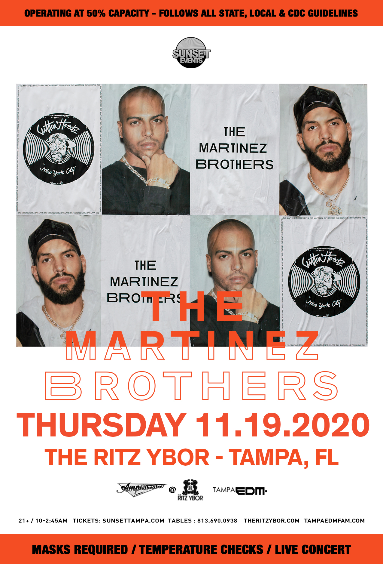 The Martinez Brothers for Sunset Saturdays at The RITZ Ybor – 11/19/2020