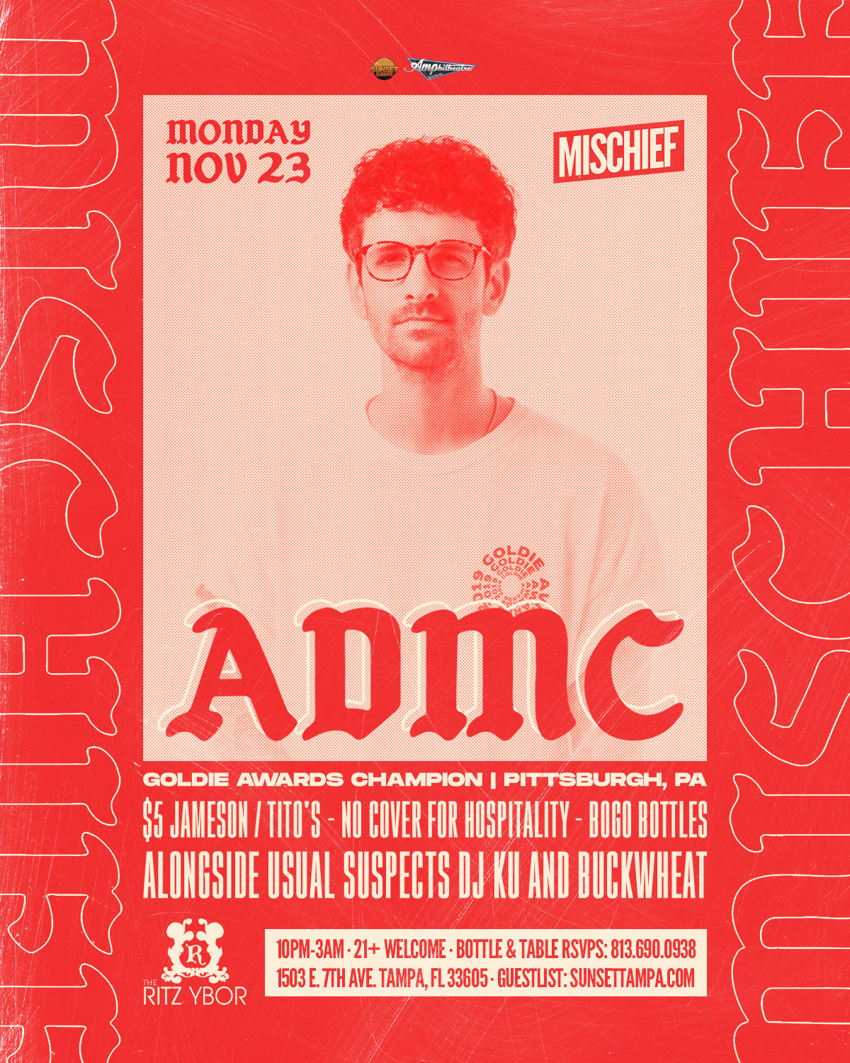 Mischief Mondays with Special Guest ADMC at The RITZ Ybor – 11/23/2020