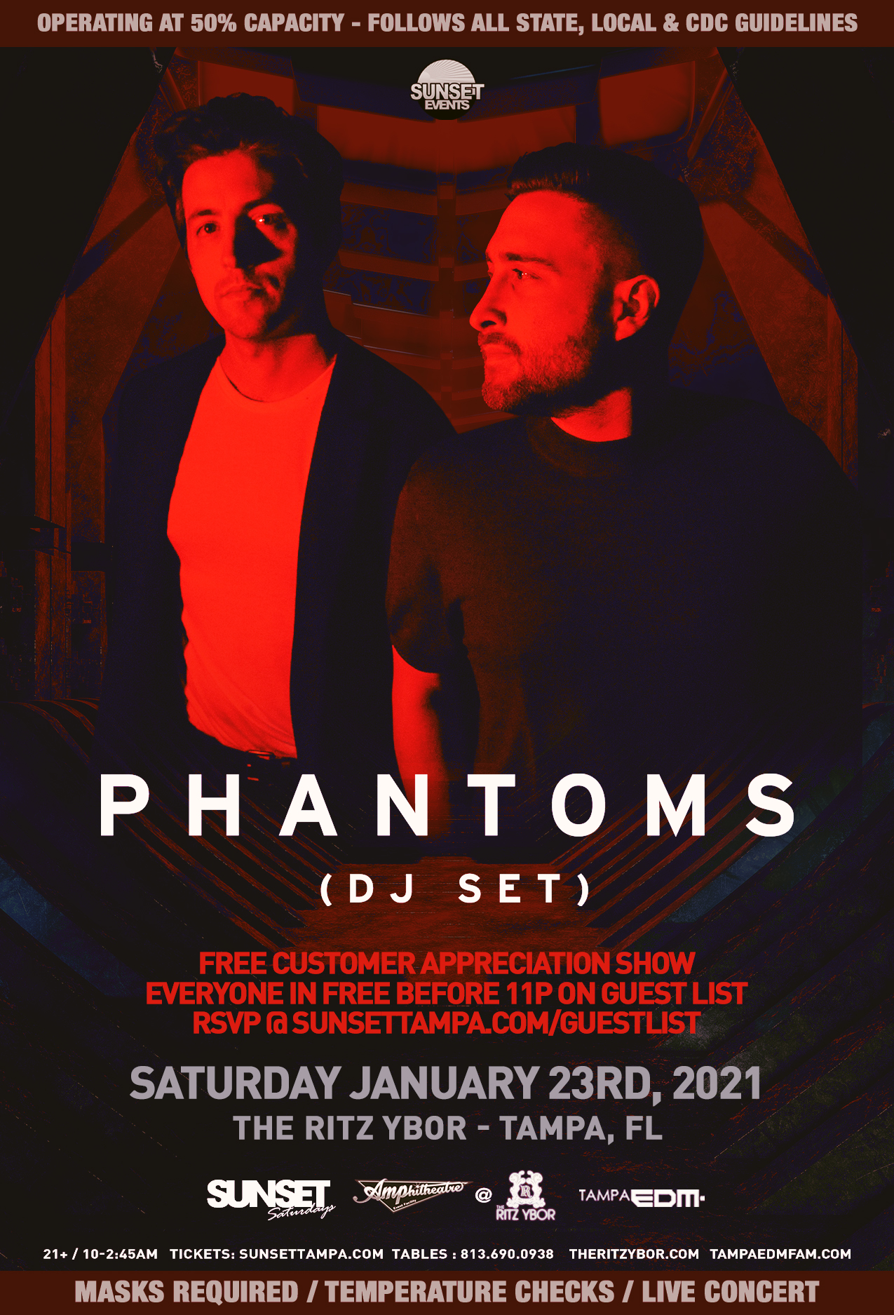 Phantoms (dj set) for Sunset Saturdays at The RITZ Ybor – 1/23/2021