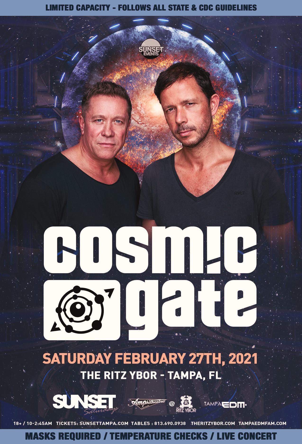 Cosmic Gate for Sunset Saturdays at The RITZ Ybor – 2/27/2021