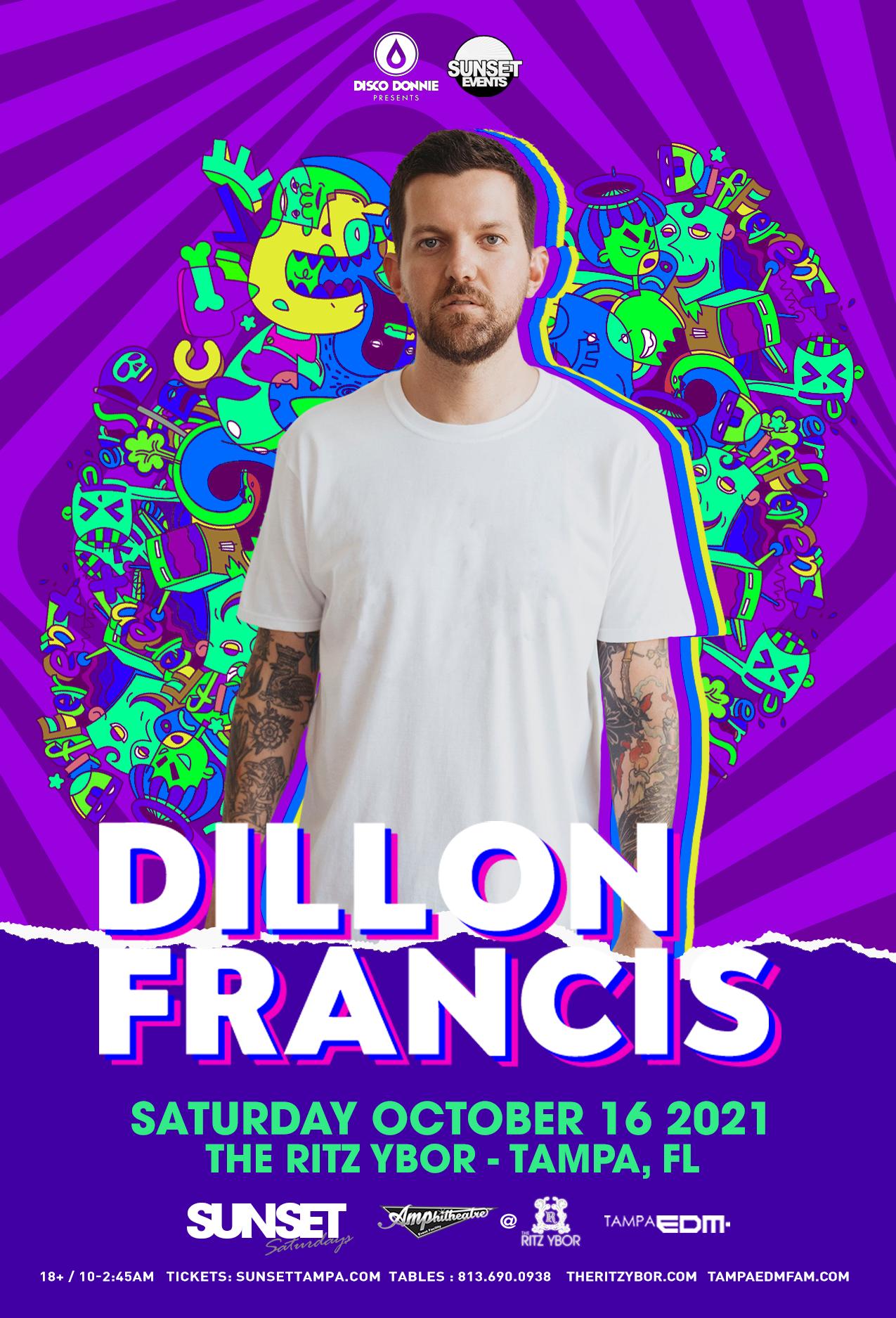 Dillon Francis for Sunset Saturdays at The RITZ Ybor – 10/16/2021